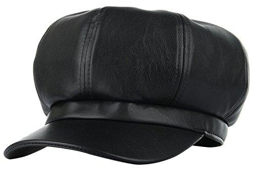 Gemvie Women Winter Black PU Leather 8 Panel Baker Boy Hat Newsboy Cap