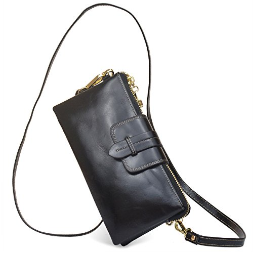 Bveyzi Women's Leather Smartphone Wristlet Clutch Wallet with Shoulder Strap (Black) by Bveyzi