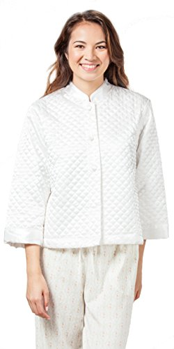 Sleeve Bed Jacket (KayAnna Luxurious Quilted Satin Bed Jacket - Ivory (Medium (8-10), Ivory))