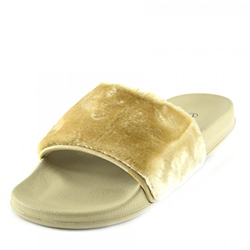 SLIP MULI PELLICCIA CURSORE SCARPE CIABATTA ON Nudo SLIPPER SANDALI FLAT Kick Footwear DONNA qpxOcUHHS1