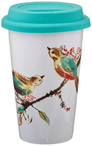 Lenox Double Wall Ceramic Chirp Thermal Travel Mug 10 OZ