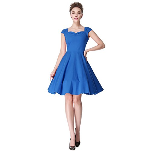 Heroecol Womens Vintage 1950s Dresses Sweetheart Neck Sleeveless 50s 1960s Style Retro Swing Rockabiily Cocktail Evening Prom Homecoming Bridesmaid Dress Size XL Color Blue
