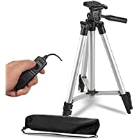 50 Inch Lightweight Aluminum Camera Tripod + Remote Shutter Release for Canon T6i T6 T6s T5i T5 T4i T3i T2i T1i and 4-inch mini tripod Included (4 Piece Set)