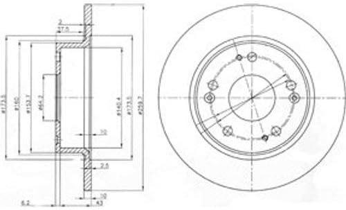 2X Delphi Bremsscheiben /Ø259Mm Set Hinten