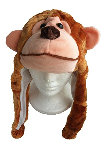Brothship Adult/Teen Plush Animal Character Ear Flap Hat (One Size) (Brown - Monkey Hat Adult