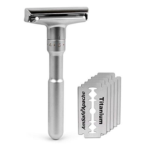 quality-adjustable-double-edge-classic-safety-razor-1-razor-5-pcs-titanium-coated-blades