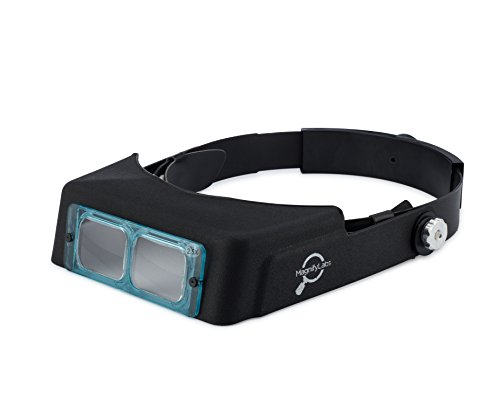 MagnifyLabs Headband Magnifier - (Hands Free Optical Visor / Binocular Magnifier) - with One Optical GLASS Lens Plate (2.5x at 8' Focal Length)