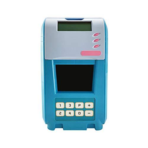 Niño Juguete Hucha Regalo Contraseña Alcancía Caja Fuerte Simulación ATM Smart Alarm Clock Tanque De Ahorro De Voz,Blue