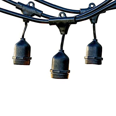 LEVIN Ambiance Weatherproof String Light for Outdoor with 15 Dropped Socket 48ft UL Listed, Black
