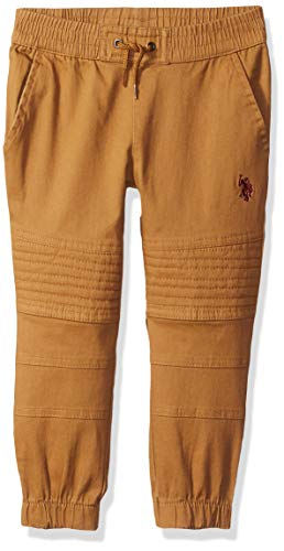 U.S. Polo Assn. Toddler Boys' Twill Jogger Pant, Stretch British Tobacco, 2T