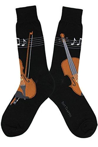 Foot Traffic - Men's Music-Themed Socks, Musical Strings (Shoe Sizes 7–12) (Strings Gifts Music)