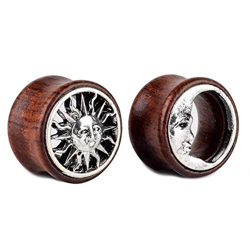 "(JUZIWEI 1 Pair Tribal Sun and Moon Organic Wood Flesh Tunnels Double Flared Ear Stretcher Saddle Plugs Gauge 8mm - 20mm,Gauge=1/2""(12mm))"