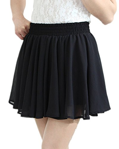 Mullsan Womens' Pleated Chiffon Mini Skirt w/ Safety Shorts (Black)