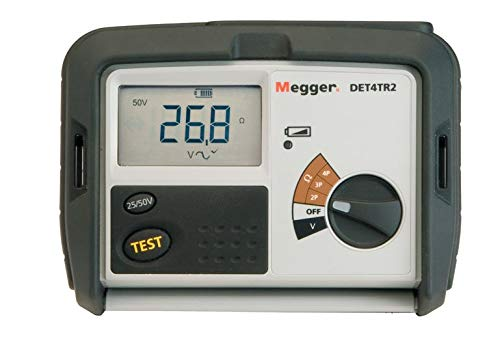 Megger DET4TR2 4-Terminal Ground Resistance Tester with Rechargeable Battery, 0.01-20,000 Ohms Resistance Range