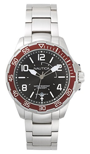 Nautica Men's 'PILOT HOUSE' Quartz Stainless Steel Sport Watch, Color:Grey (Model: NAPPLH005)