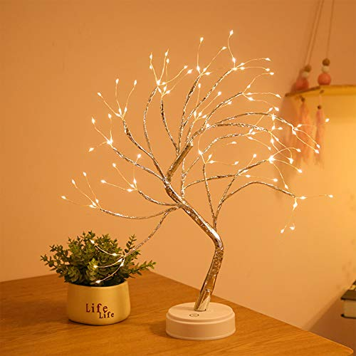 N / D Desktop Bonsai Tree Light, with 36 Pearl LEDs, Touch Switch, USB/Battery Power, DIY Artificial Tree Light, Used for Wedding Christmas Interior Decoration Lights (Plum Blossom Warm Light)