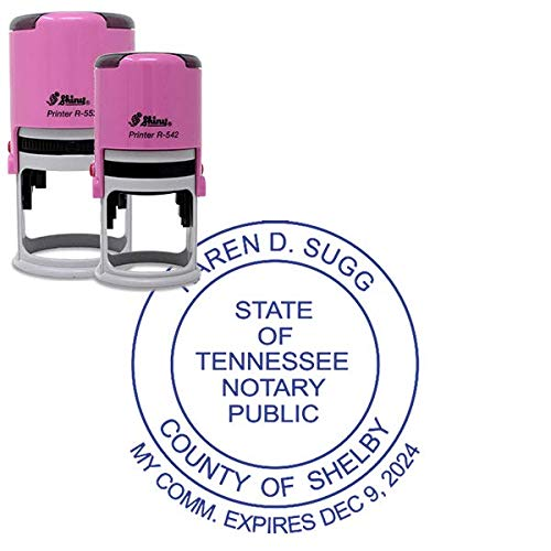 Pink Notary Stamp -Tennessee Notary Pink Stamp with Date Below - Round Design