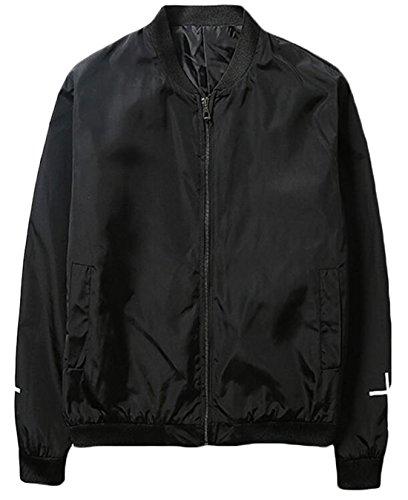 EKU Men's Autumn Lightweight Zipper Athletic Jackets US M Black