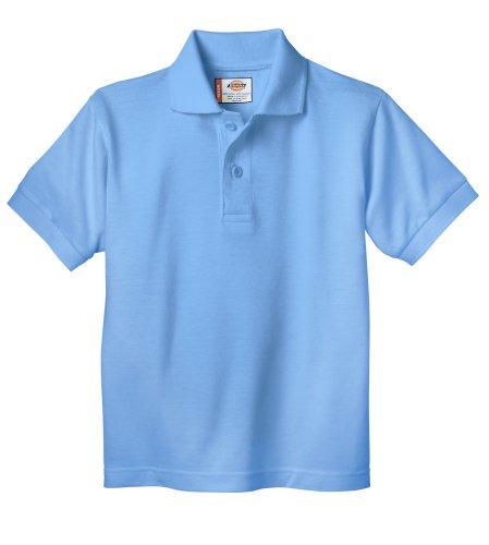 - Dickies Little Boys' Short Sleeve Pique Polo Shirt, Light Blue, 2T