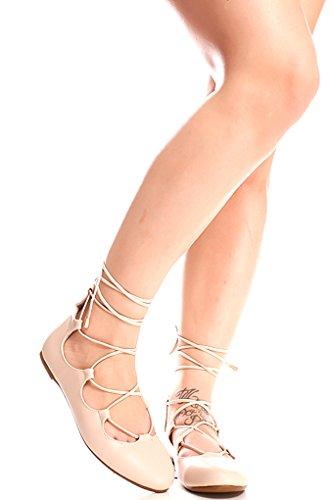 Lolli Couture Lace Up Kunstleer Materiaal Ronde Teen Stijl Casual Flats Beige