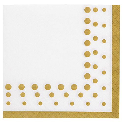 Creative Converting 317842 Sparkle and Shine Gold Paper Lunch Luncheon Napkins, 6.5 x 6.5, White