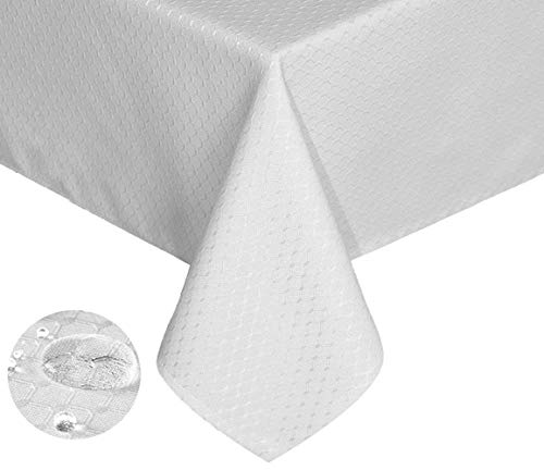 - Tektrum Heavy Duty 70 X 70 inch Square Elegant Waffle Weave Check Jacquard Tablecloth Table Cover -Waterproof/Stain Resistant/Wrinkle Free - Great for Dinner, Banquet, Parties, Wedding (White)
