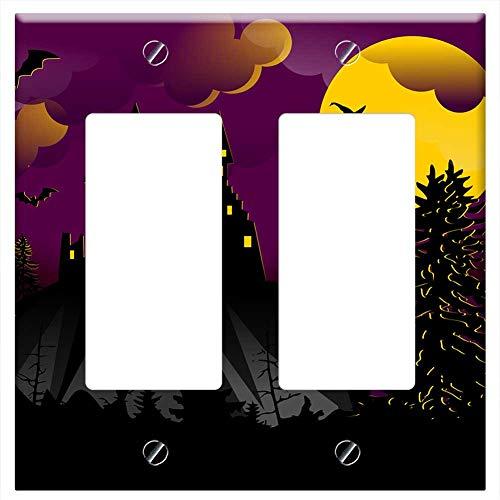 Switch Plate Double Rocker/GFCI - Halloween Witch Spell Bats Vampires Terror