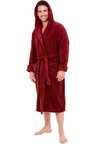 Alexander Del Rossa Mens Turkish Terry Cloth Robe, Thick Hooded Bathrobe, Large XL Burgundy (A0105WNEXL)