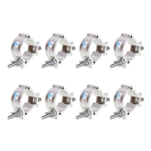 GBGS 8 Pack O-Clamp 2 Inch Lighting Mount for Stage Lighting Moving Head Light Par Light Spotlight Aluminum Alloy Finish Heavy Duty 220 Pound