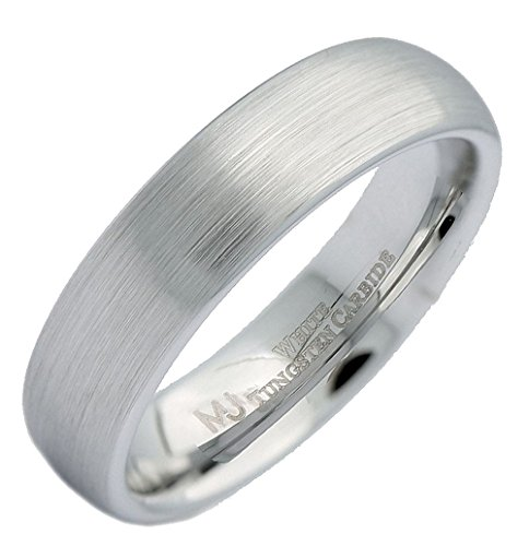 6 Mm Engraved Band - MJ Metals Jewelry Custom Engraved 6mm White Tungsten Carbide Brushed Domed Wedding Ring Size 8