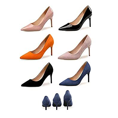 TONMOON Fashion Colorful PU Leather High Heels Women Pumps Pointed Toe Work Pump Stiletto Woman Shoes Weeding Shoes Office Career Multi Color