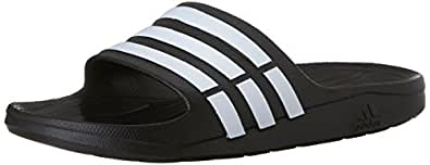 adidas Duramo Slide Sandal,Black/White/Black,8 M US Women's/6 M US Men's