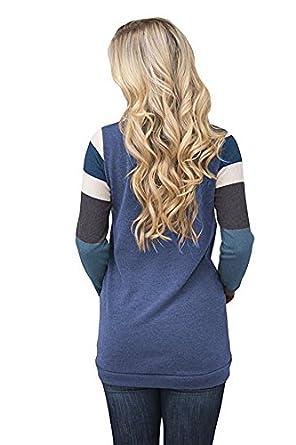Yidarton Top Femme Manches Longues Pulls Sweatshirt T-Shirt Cou Rond Grande Taille Casual L/âche Rayures avec Poche Hiver Tunique