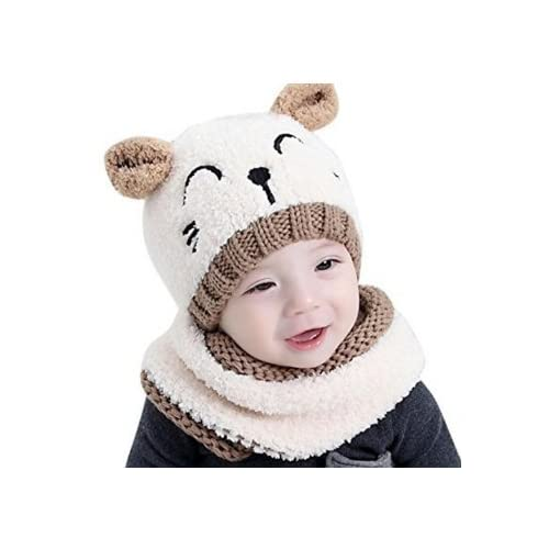 d659c2132f0 Enfant d apos automne et d apos hiver Chapeau + écharpe en laine Bonnet  chaud bébé Ours Kid de pâte à modeler Chapeau pour 6–36 mois Laiteux taille  unique