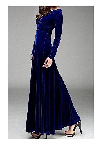 Blue Sleeve Flared ARJOSA V Bodycon Neck Long Velvet s Dress Long Cocktail Women xqwfYO7