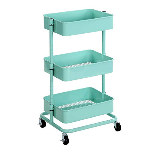 SONGMICS 3-Tier Metal Rolling Cart, Utility Cart, Kitchen Cart with Adjustable Shelves, Storage Trolley with 2 Brakes, Easy Assembly, for Kitchen, Bathroom, Mint Green UBSC60M