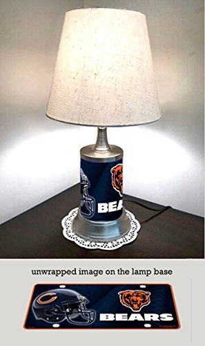 IS Table Lamp with Shade, Chicago Bears Plate Rolled in on The lamp Base