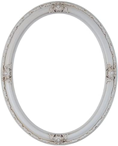 Oval Beveled Wall Mirror for Home Decor – Jefferson Style – Antique White – 32×42 Outside Dimensions