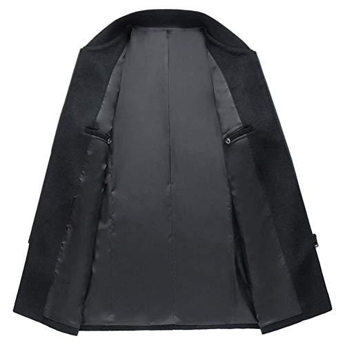 Los Hombres De Los Cierre Fit Regular Hombres Modernas Casual De Cremallera Front Stand Collar Los Hombres De Largo Ntel Moda Leisure Coat De Los Hombres (Color : Schwarz, Size : L)
