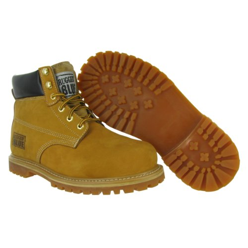 MS001 Nubuck Boot Leather Rugged Work Mens Tan Toe 7M Blue Waterproof Size Steel 5fHxUw