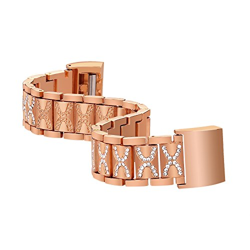 For Fitbit Charge 2 Bands, Replacement Metal Adjustable Bracelet Bands for Fitbit Charge 2 HR Heart Rate (rose gold 006) (006 Replacement)