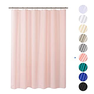 """AmazerBath Plastic Shower Curtain, 72"""" W x 96"""" H EVA 8G Shower Curtain with Heavy Duty Clear Stones and Grommet Holes, Waterproof Thick Bathroom Plastic Shower Curtains-Pink"""