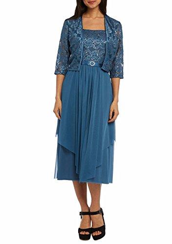 RM Richards Women Floral Lace Bolero Jacket Dress - Mother Of The Bride Dresses (8, Blue)
