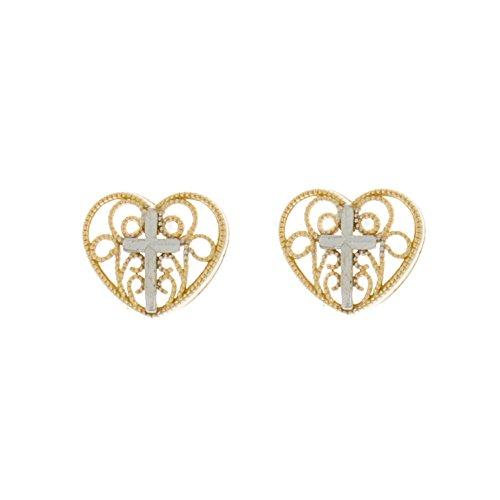 Earrings Filigree Gold White (14K Gold Heart Post Earrings, Filigree Heart with White Cross Center)