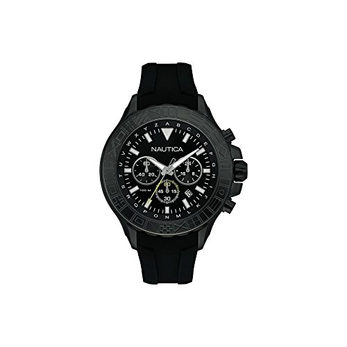 Nautica Men's 'NST 1000 FLAGS' Quartz Stainless Steel and Silicone Casual Watch, Color:Black (Model: NAD20015G)