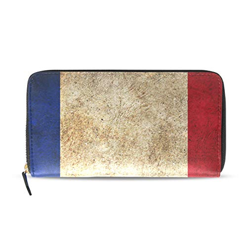 Womens Wallets Vintage French Flag Leather Passport Wallet Coin Purse Girls Handbags