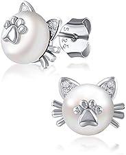 925 Sterling Silver Flower Stud Earrings for Women, Hypoallergenic Sliver Studs for Sensitive Ears, Birthday M
