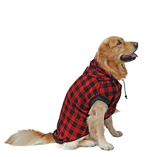 4 Pets Large Dog Plaid Shirt Coat Hoodie Pet Winter Clothes Warm and Soft Red L
