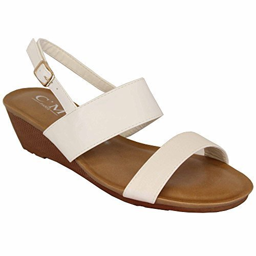 MCM Ladies Sandals Slip On Womens Wedge Heel Open Toe Buckle Shoes Wedding Fashion White - 39924 r4MekU