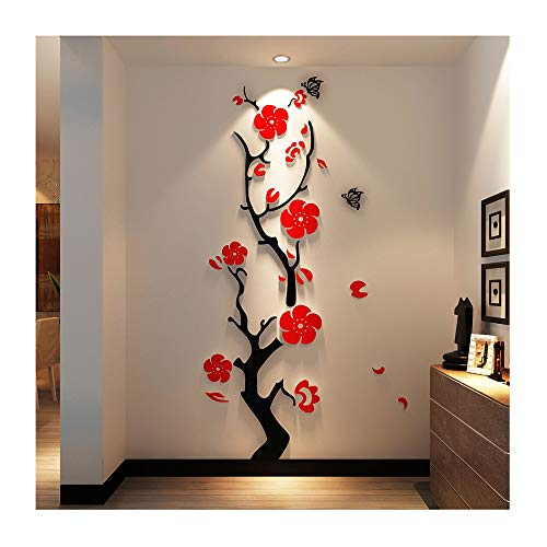 (Alrens(TM)Creative Chinese Style Plum Flowers Stereoscopic 3D Acrylic Wall Stickers Entrance Study Bedroom Living Room Wall Decor Self Adhesive Mural Decal Home Decoration)